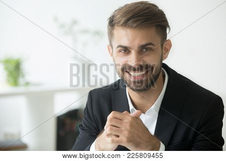 Smiling Attractive Young Millennial Businessman Wearing Suit Looking At Camera, Optimistic Cheerful