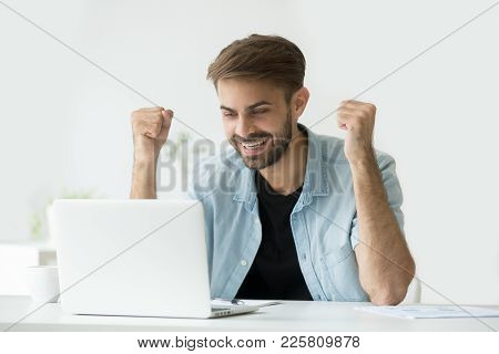 Happy Excited Man Celebrating Online Win Success Achievement Result Looking At Laptop Screen, Succes