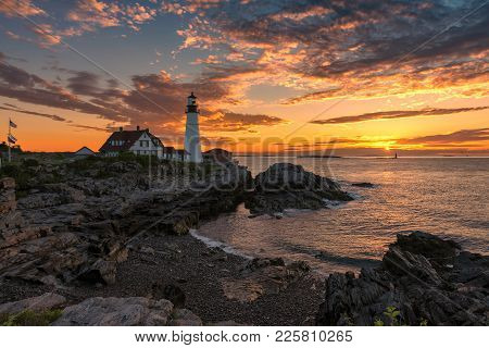 Portland Lighthouse At Sunrise In New England, Maine, Usa.