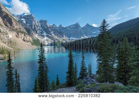 Canadian Rockies At Sunset  - Moraine Lake In Banff National Park Of Canada