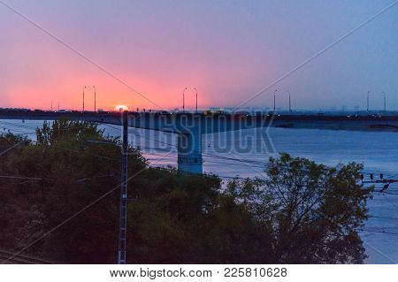 View Of Kama River And Communal Bridge On Sunset. Perm, Russia