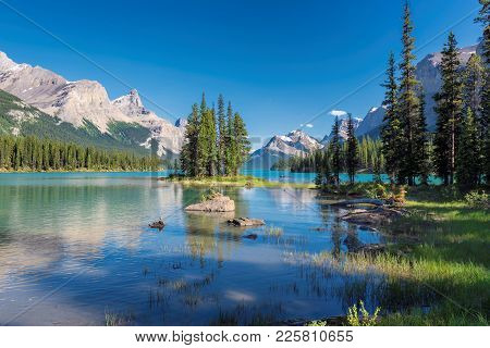 Beautiful Spirit Island In Maligne Lake, Jasper National Park, Alberta, Canada.
