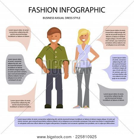Business Cusual Dress Style Infographic. Man And Woman Isolated On White Background With Speech Bubb