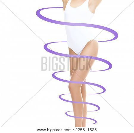 Fit and sporty girl in white underwear. Healthy life-style concept.