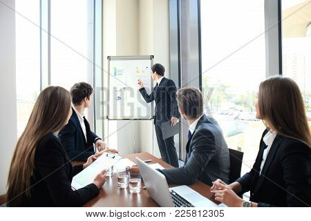 Business Conference Presentation With Team Training Flipchart Office