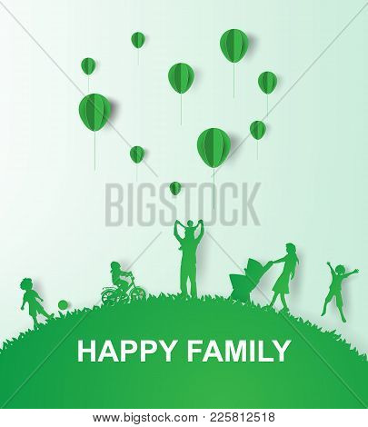 Paper Art Of Green Background Happy Family Having Fun Playing In The Field.vector Illustration