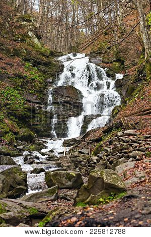 Beautiful Shypit Waterfal And Rocks Covered With Moss. Shypit Waterfall Located On Pylypets River In