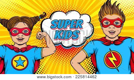 Wow Couple. Surprised Little Girl And Happy Boy Dressed Like Superheroes With Open Mouths Show Power