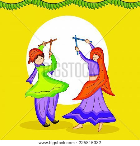 Illustration Of People Playing Hindu Folk Dance Garba And Decoration On The Occasion Of Hindu Festiv