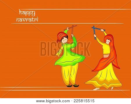 Illustration Of People Playing Hindu Folk Dance Garba With Happy Navratri Text On The Occasion Of Hi