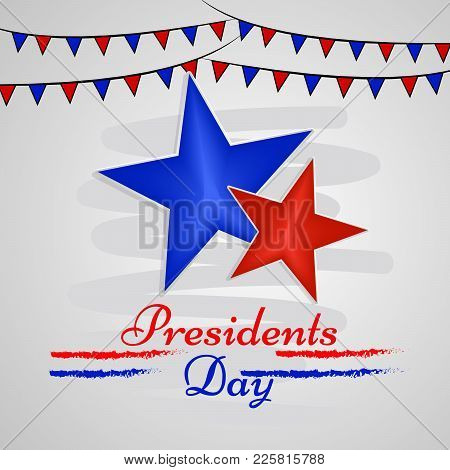Illustration Of Stars And Decoration With Presidents Day Text On The Occasion Of Usa Presidents Day