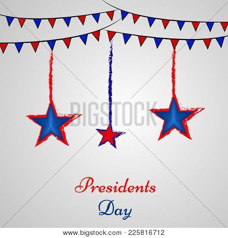 Illustration Of Hanging Stars And Decoration With Presidents Day Text On The Occasion Of Usa Preside