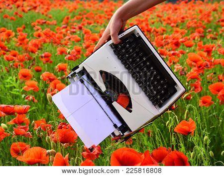 Drug, Narcotics, Opium, Novel. Opium Poppy, Agile Business, Ecology. Vintage Typewriter In Hand, Edu