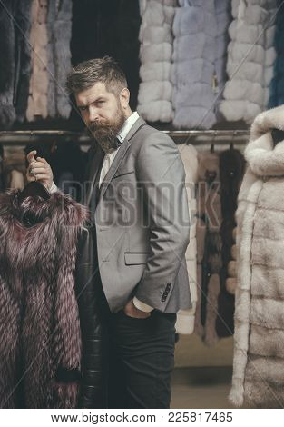 Man With Beard And Mustache Hold Fur Coat. Macho With Stylish Appearance Try White Sable Fur Coat. G