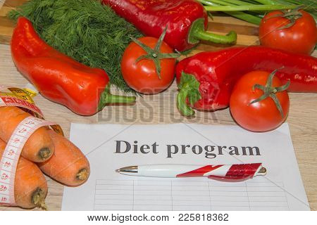 Diet Plan. The Concept Of Weight Loss, Wellness And Healthy Lifestyle. Vegetarian Vegetables Diet. P