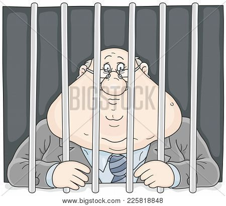Sad Corrupt Official With A Sour Face Sitting Behind Bars In A Prison