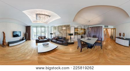 Praha, Czech - August 8, 2013: 360 Panorama View In Interior Of Luxury Furnished Guest Hall And Big
