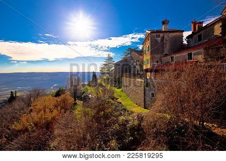 Groznjan Village And Istrian Landscape At Low Sun View, Istria Region Of Croatia