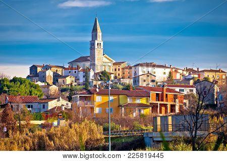 Town Of Visnjan On Green Istrian Hill View, Istria Region Of Croatia