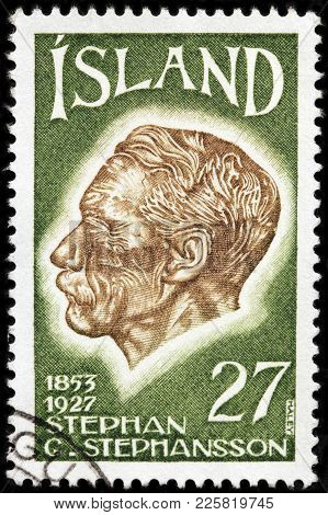 Luga, Russia - January 16, 2018: A Stamp Printed By Iceland Shows Image Portrait Of Western Icelande