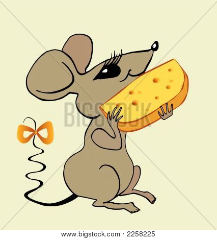 sitting mouse eats the big piece of cheese poster