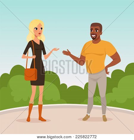Young Blond Woman And Bearded Afro-american Man Standing In Park And Having Conversation. Cartoon Pe