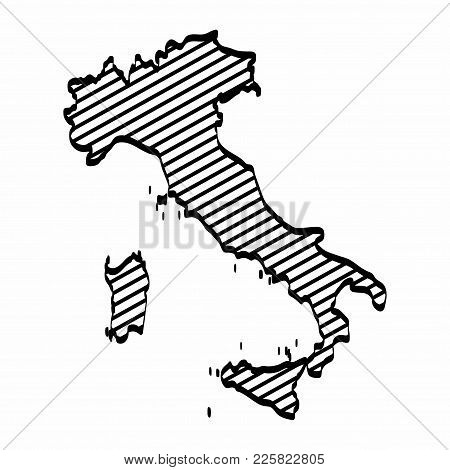 Italy Map Outline Graphic Freehand Drawing On White Background. Vector Illustration