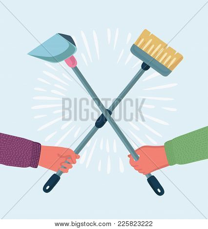 Cartoon Vector Funny Illustration Of Struggle Scene Of Battle Of Humans Hands Holding Cleaning Brush