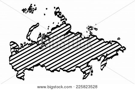 Russia Map Outline Graphic Freehand Drawing On White Background. Vector Illustration