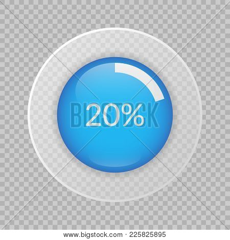 20 Percent Pie Chart On Transparent Background. Percentage Vector Infographics. Circle Diagram Isola