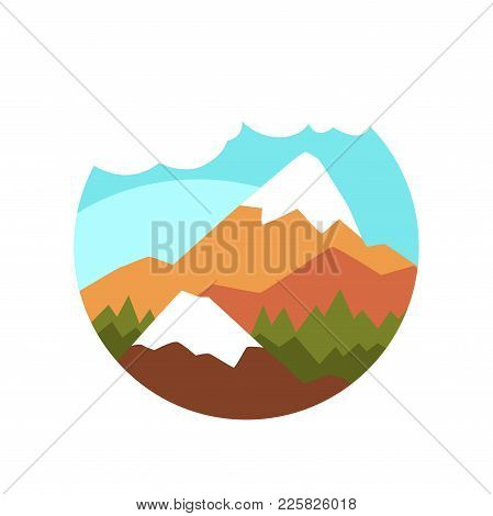 Round Icon Of Natural Landscape With Green Pine Forest, Mountains With Snowy Peaks, Blue Sky And Whi