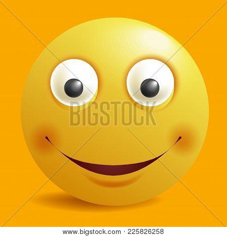 Smile Constructor Of Cartoon Yellow Round Smiley Emoticon Emoji. Vector Construction Face Flat Desig