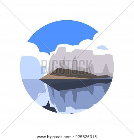 Wonderful Northern Landscape With Giant Glacier, Sea, White Clouds And Blue Sky On Background. Logo