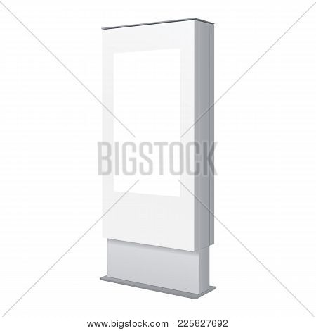 Stand Outdoor Information Kiosk - Half Side View. White Digital Signage Isolated. Vector Illustratio