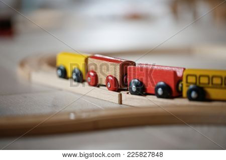 Wooden Train Toys. Educational And Natural Toys, Learning Through Experience Concept, Creative Playi