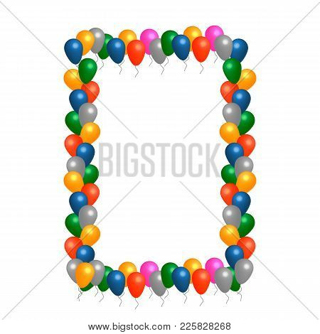 Colored Helium Balloons Vector Frame With White Background