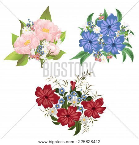 The Bouquets Of Flowers. Set Of Vector Flowers Isolated On A White Background.