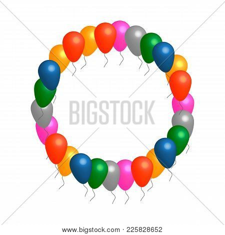 Colored Helium Balloons Circle Vector Frame With White Background