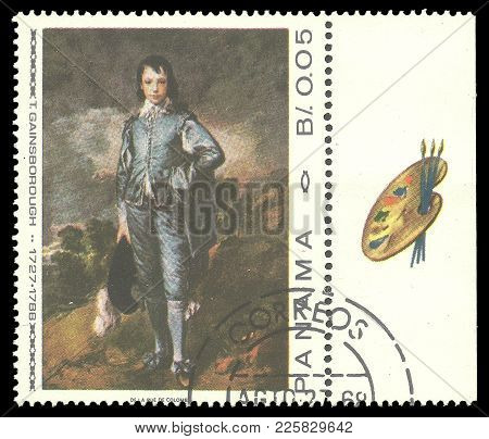 Panama - Circa 1967: Stamp Printed By Panama, Color Edition On Art, Shows Painting Of Young Man By T
