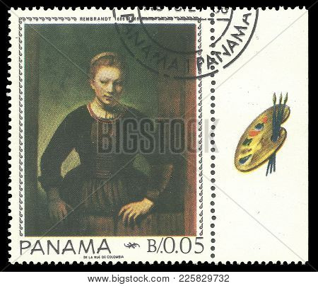Panama - Circa 1967: Stamp Printed By Panama, Color Edition On Art, Shows Painting Of Young Woman By