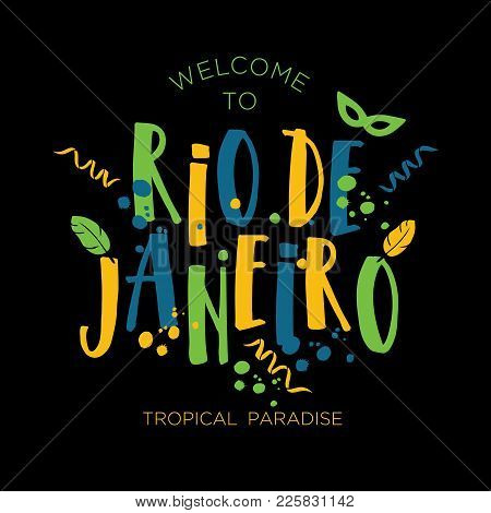 Illustration Of Rio De Janeiro Carnival From Brazil Vacation Of Colors Of The Brazilian Flag, Brazil
