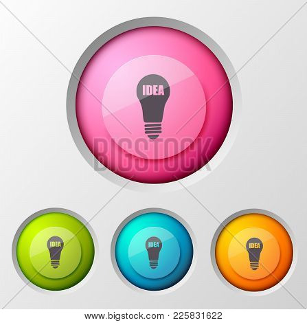 Business Infographic Concept With Idea Pictogram Grey Lamp Silhouette Inscribed In Round Button Inte
