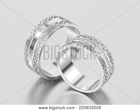 3d Illustration Two White Gold Or Silver Decorative Wedding Bands Carved Out Rings With Ornament On