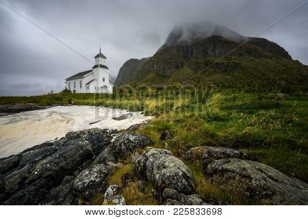 Gimsoy Church On Lofoten Islands In Norway. Wide-angle View.