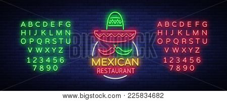 Mexican Restaurant Is A Neon Sign. Bright Glow Sign, Neon Banner, Luminous Logo, Symbol, Nightly Adv