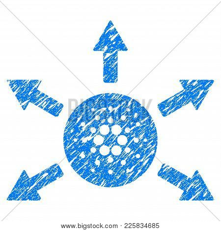 Grunge Cardano Distribution Arrows Rubber Seal Stamp Watermark. Icon Symbol With Grunge Design And U