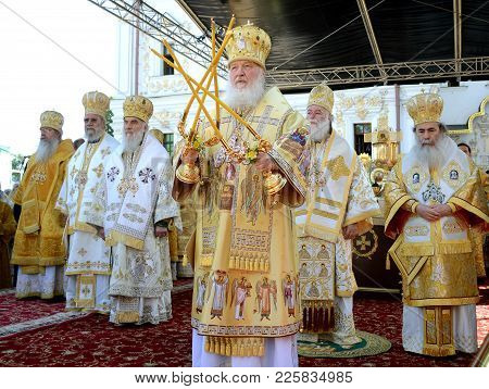 Patriarch Kirill And The Other Bishops On The Service In Kiev, In The Kiev Pechersk Lavra In The Sum
