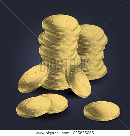 Golden British Pound Sterling Coins Stacks Vector Icons