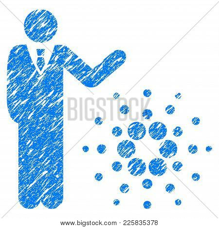 Grunge Businessman Show Cardano Rubber Seal Stamp Watermark. Icon Symbol With Grunge Design And Uncl