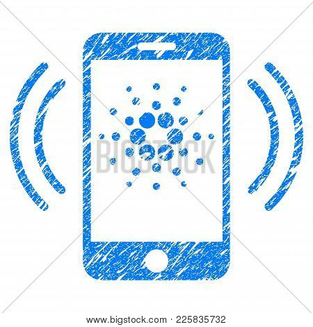 Grunge Cardano Mobile Banking Rubber Seal Stamp Watermark. Icon Symbol With Grunge Design And Scratc